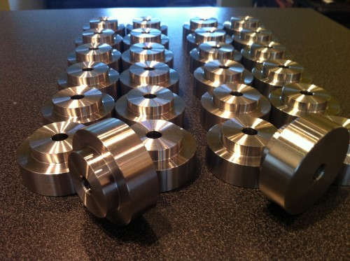 Batch of stainless steel stand offs for a local brewery.