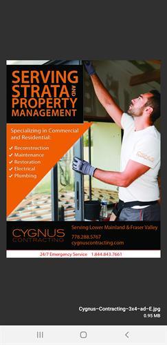 CYGNUS CONTRACTING Strata Maintenance and Repair