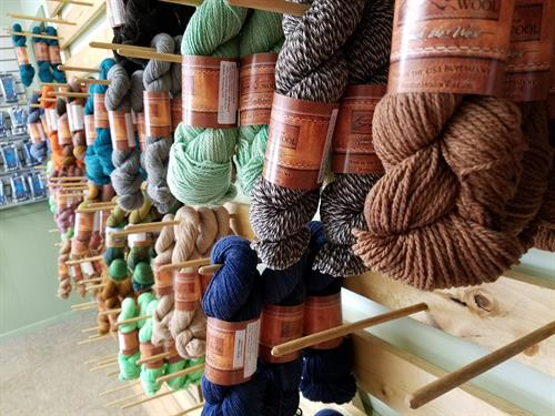 Many yarns from Wyoming's Mountain Meadow Wool that is spun in Buffalo, WY