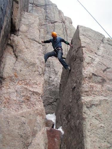 Rock Climbing in Sinks Canyon (photo by D. Wells)