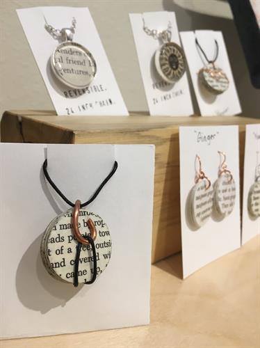 Jewelry made with book pages.