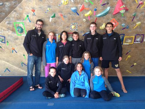 Youth Climbing Team showing off their team fleeces