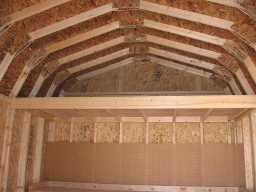 10x12 High-Wall Barn Loft, Workbench & Pagboard