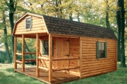 Gambrel Roof Cabin with Sleeping Loft & Covered Porch