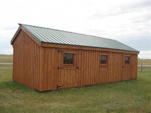 Custom Row Barn with Steel Roof and Baord & Batton Siding