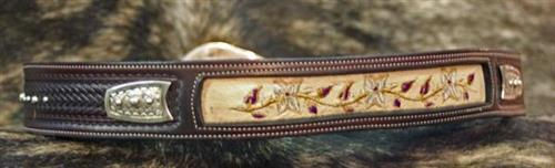 belt with embroidered floral underlay