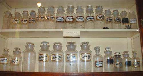 Handblown Glass Apothecary Jars from Burleson's Drug Store