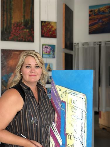 Theresa in her art studio in Medicine Hat, Alberta