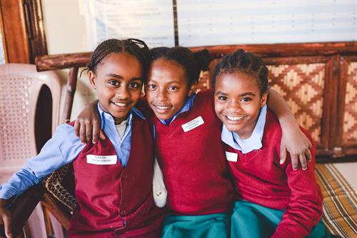 Students who attend school wear uniforms. Canadian Humanitarian helps them have uniforms