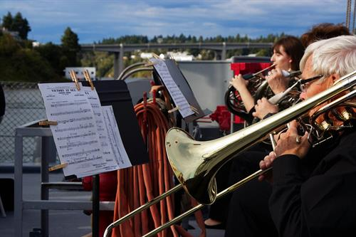 2019 - Orchestra filming for Q13 commercial on board the USS Turner Joy
