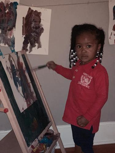 Pre-Primary Student working on her art