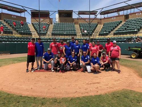 Softball exhibition game at Visalia Rawhide