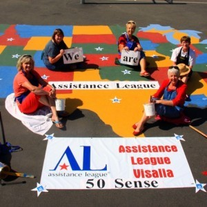 """Fifty Sense"" US maps painted at elementary & middle schools playgrounds across Visalia."