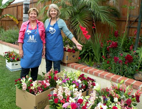 Flowers arranged for delivery to local senior care facilities.
