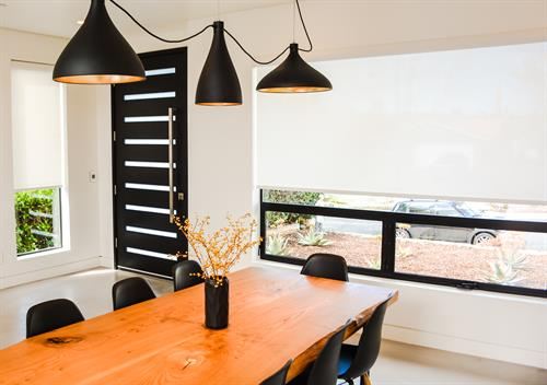 Motorized Roller Shade in Encinitas Lowered Position