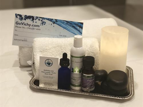 The perfect gift! Hot stone therapy, CBD products, gift certificates, cupping, and more are all available to try out.