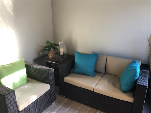 Relax before or after your service in our waiting area.