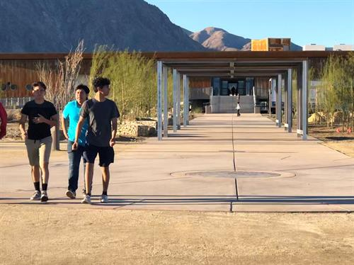 Borrego Springs Park - looking down the Walk of the Cosmos to Borrego Springs Library. We loved working with this desert community to fullfill their long time wish for a multi-generational park and awesome new library.