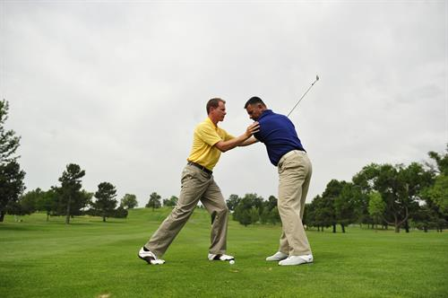 We do outdoor playing lessons and short game lessons in addition to indoor training