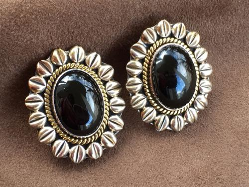 Vintage Mexican Sterling Silver & Onyx Earrings