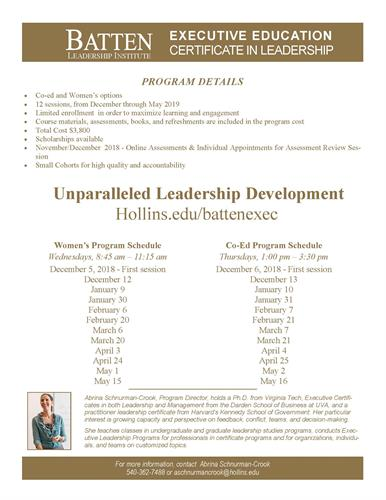 The Batten Leadership Institute\'s Executive Leadership Certificate ...