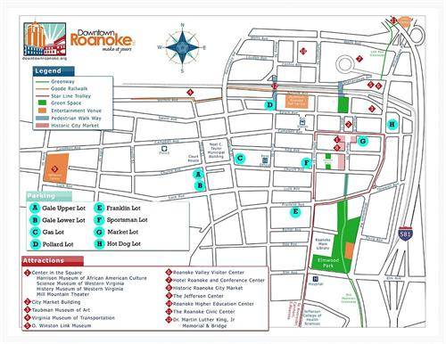 Map of Roanoke Lots in Downtown Roanoke