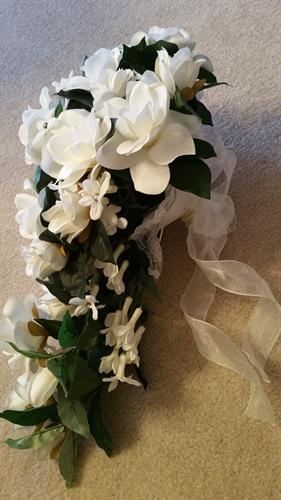 Cascading Bridal  Bouquet Gardenas