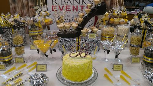 Yellow Black White Birthday Themed Buffet Table