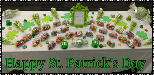 St. Patrick's Day Themed Candy & Popcorn Buffet Table