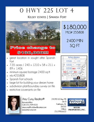 Price decrease on acreage lot in Spanish Fort up 225 in Kelsey Estates. 7.35 acres.