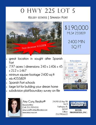 Price decrease $10,000 on Lot 5 in acreage subdivision in Kelsey Estates in Spanish Fort.