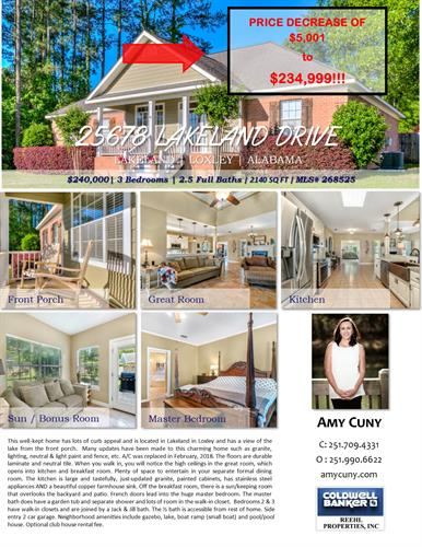 Call Amy Cuny for details: 251.709.4331