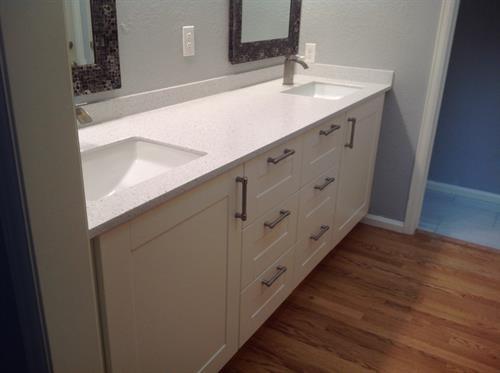Double vanity with under mount sinks