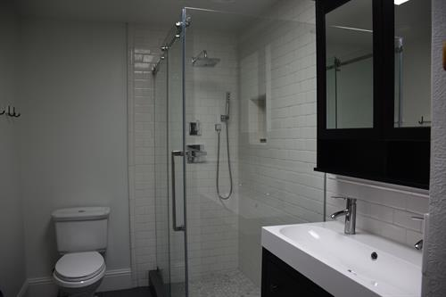 Walk in shower with trough double sink