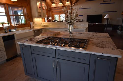 Gas cooktop in island
