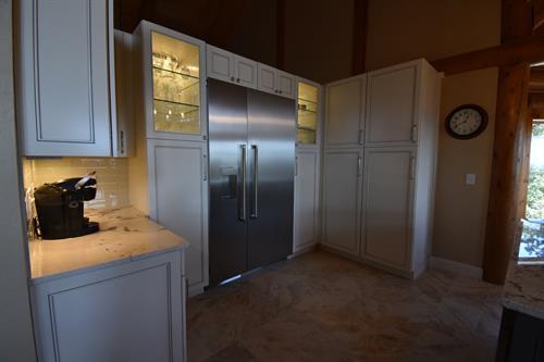 Backlit side refrigerator glass cabinets