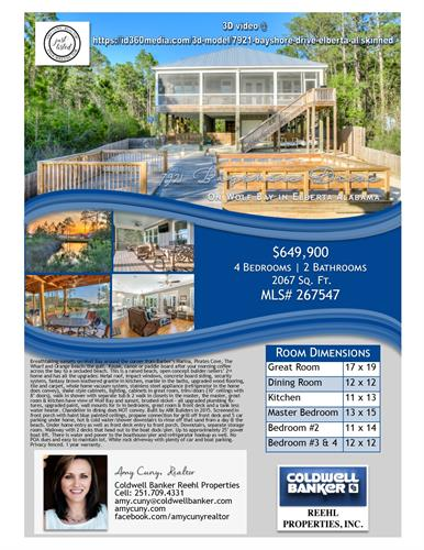 Home on Wolf Bay for sale: builder's 2nd home. Built in 2015. 4br/2ba/2067sq ft/impact windows/boat lift & dock/so many upgrades. Details: Amy Cuny, Realtor/Coldwell Banker Reehl Properties 251.709.4331 #yourReehltor