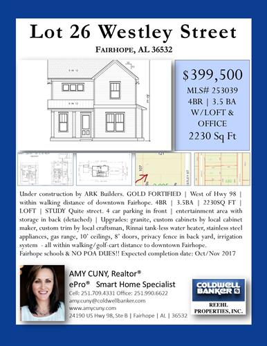 New construction, custom home for sale within walking distance of Downtown Fairhope. Call or text me @ 251.709.4331 for details.