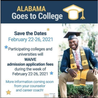 Free College Application Week for Alabama High School Seniors starting February 22-26