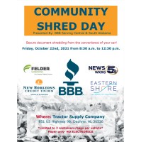 Community Shred Day is October 22nd, 2021