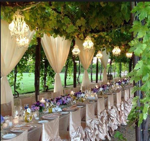Lanterns under an arbor