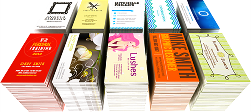 Business cards in a variety of finishes, stock and custom designs.