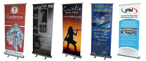 Banners, outside/inside signage. Trade show displays ready when you need them.