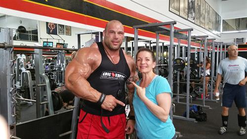 Batista with Morgan Aeste at Golds gym, Venice the Mecca of Bodybuilding