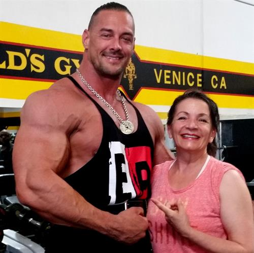 Batista with Aaron Reed at Golds gym, Venice the Mecca of Bodybuilding