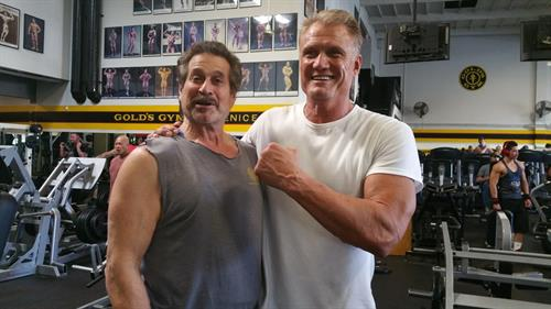 Dr Fitness USA with Dolph Lundgren at Golds gym, Venice the Mecca of Bodybuilding