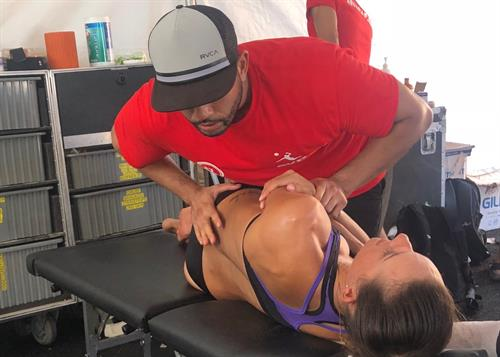 Dr. Leo working at AVP Pro Volleyball Tournament at Manhattan Beach August 2018