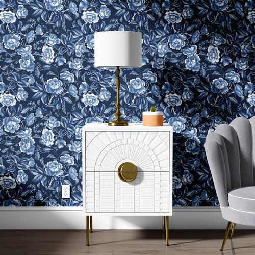 Denim Roses Wallpaper