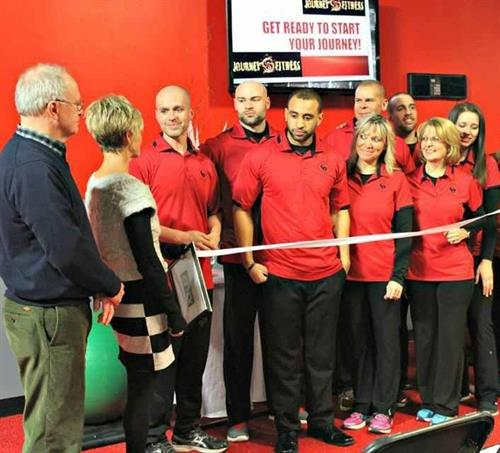 Ribbon cutting ceremony for Journey Fitness's second location in Corning, NY.