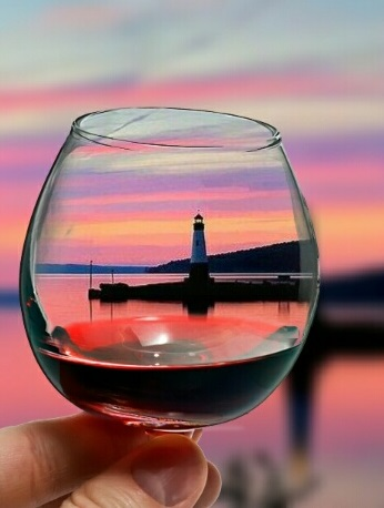 Cayuga Lake Sunset in Wine Glass
